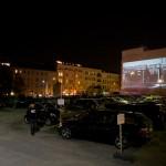 """16 Open Air Screening """"NO, Global Tour"""" von Santiago Sierra, Oranienburger Straße Berlin 2011"""