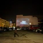 """15 Open Air Screening """"NO, Global Tour"""" von Santiago Sierra, Oranienburger Straße Berlin 2011"""