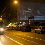 """10 Open Air Screening """"NO, Global Tour"""" von Santiago Sierra, Oranienburger Straße Berlin 2011"""