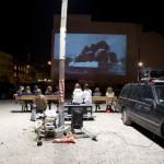 """12 Open Air Screening """"NO, Global Tour"""" von Santiago Sierra, Oranienburger Straße Berlin 2011"""